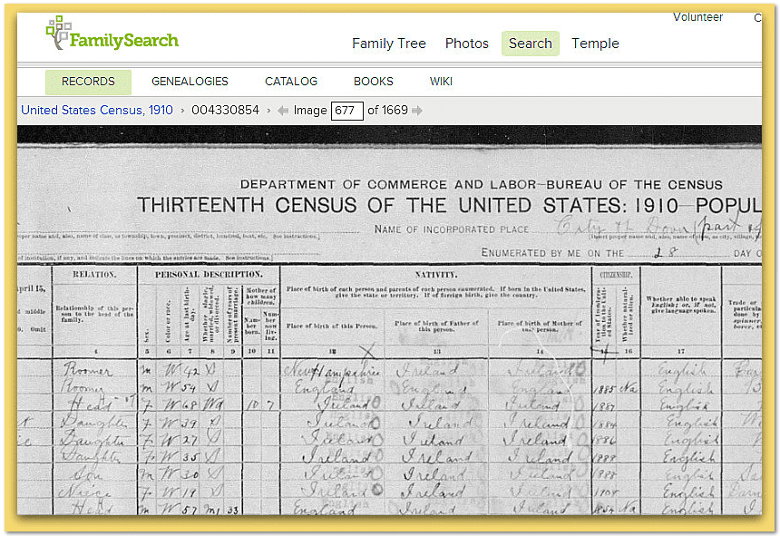 screenshot of 1910 Census from FamilySearch