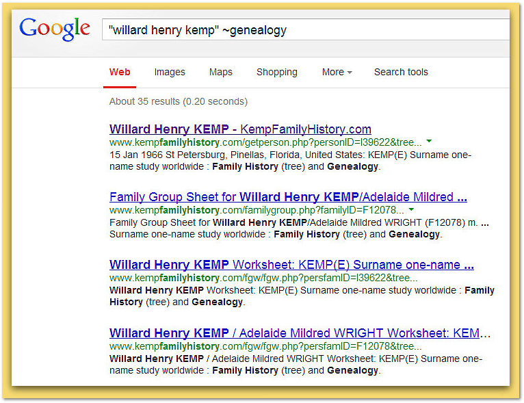"screenshot of Google search for Willard Henry Kemp adding phrase ""~genealogy"""