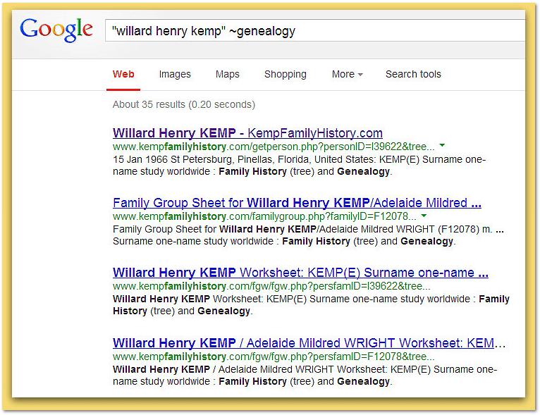 "screenshot of Google search for Willard Henry Kemp adding phrase ""~genealogy"""