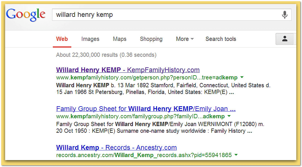 screenshot of a Google search for Willard Henry Kemp