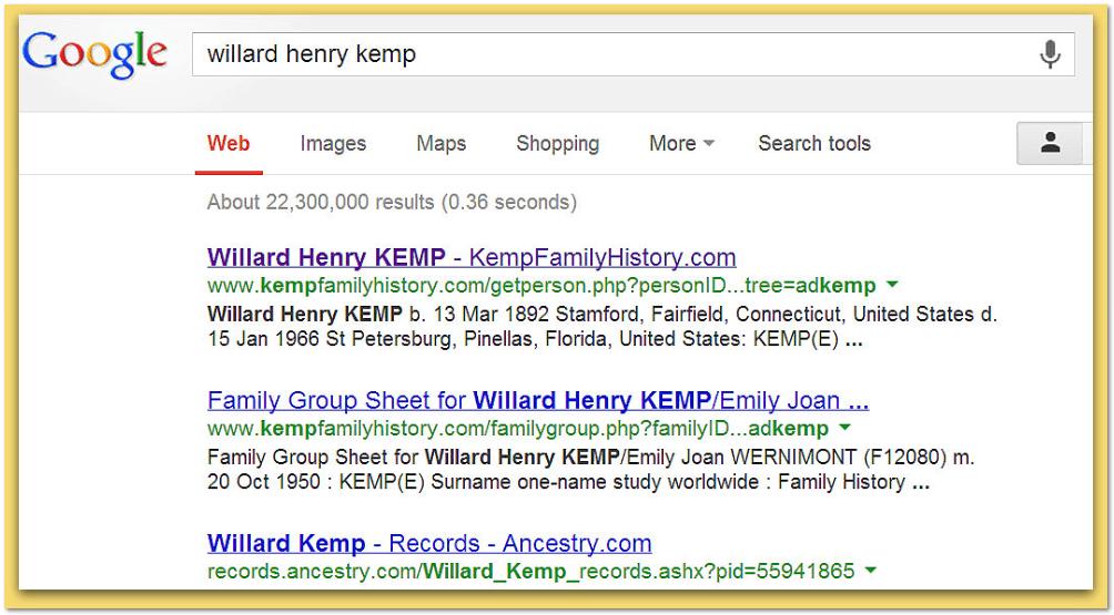 screenshot of a Google search for Willard Henry Kemp