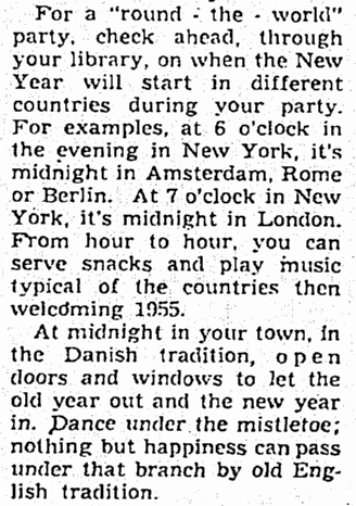 notice about midnight superstitions, Seattle Daily Times newspaper article 19 December 1954