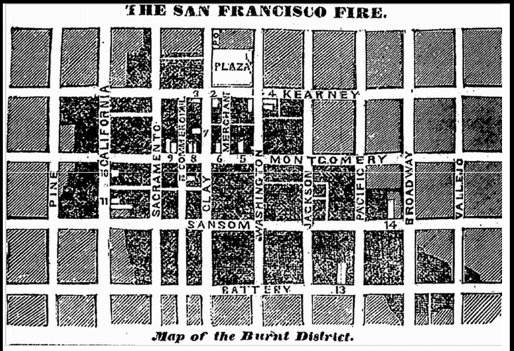 map of the 1851 San Francisco fire, Spectator newspaper article 23 June 1851