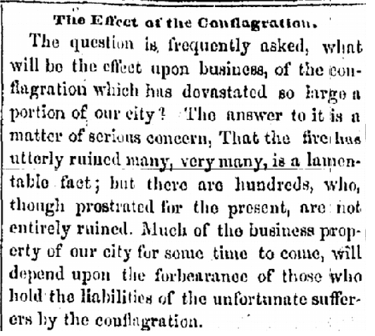 The Effect of the Conflagration, Weekly Pacific News newspaper article 15 May 1851