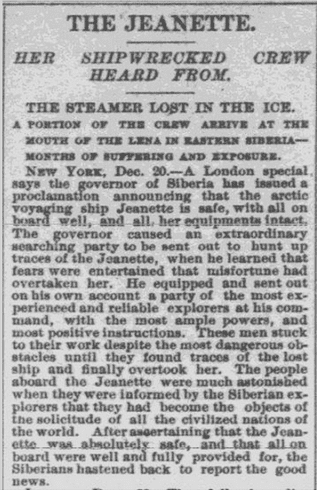 The Jeanette: Her Shipwrecked Crew Heard From, Worcester Daily Spy newspaper article 21 December 1881