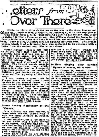 Letters from Over There, Baltimore American newspaper article 26 August 1918