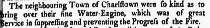 notice about a Charlestown, Massachusetts, fire engine, Boston Gazette newspaper article 13 February 1753