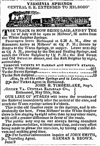 railroad ad, Charleston Courier newspaper advertisement 11 September 1856