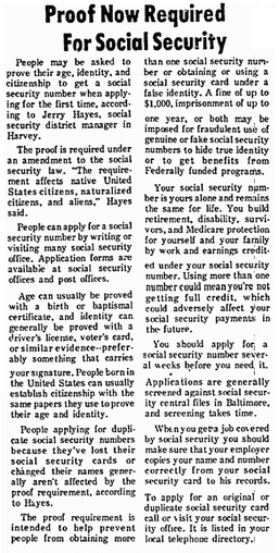 Proof Now Required for Social Security, Chicago Metro News newspaper article 6 July 1974