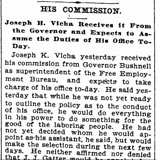 His Commission: Joseph K. Vicha Receives It from the Governor and Expects to Assume the Duties of His Office Today, Cleveland Leader newspaper article 4 January 1897