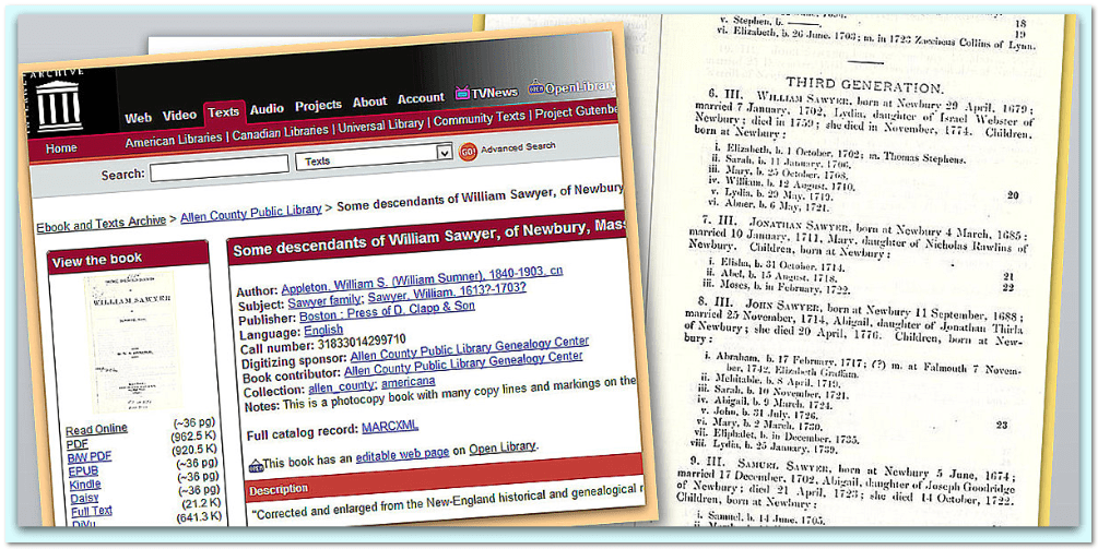 collage of images from Internet Archive about William Sawyer