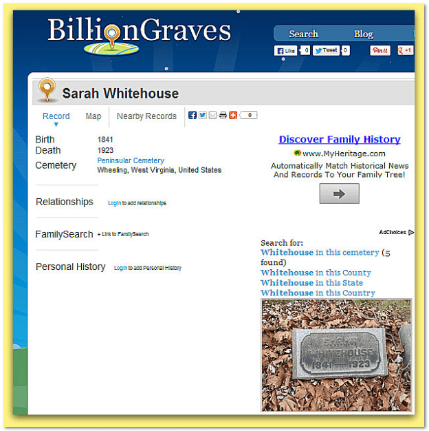 Billion Graves Sarah Whitehouse