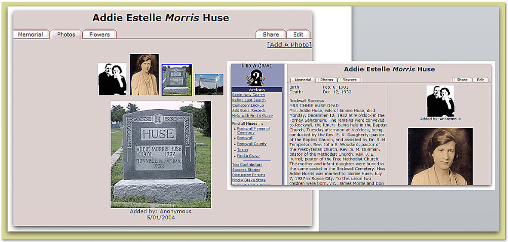 Find A Grave Addie Estelle Morris Huse