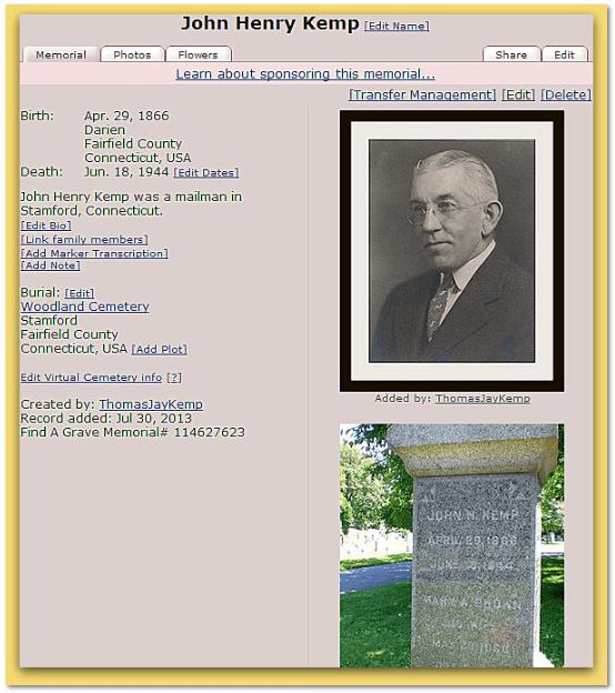 Find A Grave John Henry Kemp