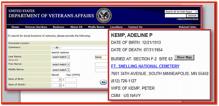 National Gravesite Locator Search Adeline Kemp