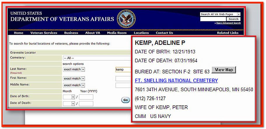 National Gravesite Locator Search Adeline Kemp