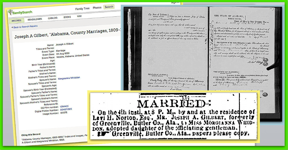 collage of records about the 1859 wedding of Joseph A. Gilbert and Margianna Whiddon, from FamilySearch and GenealogyBank