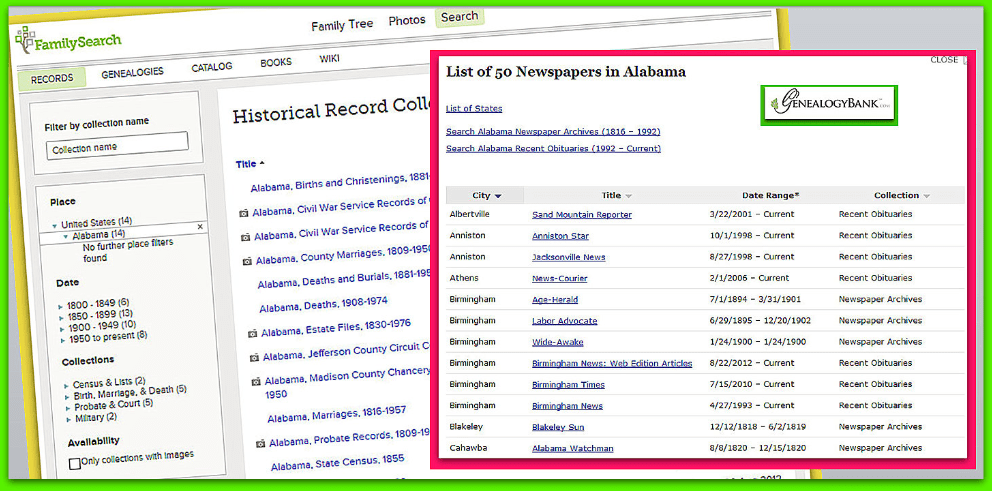 collage of Alabama genealogy records and newspapers from FamilySearch and GenealogyBank