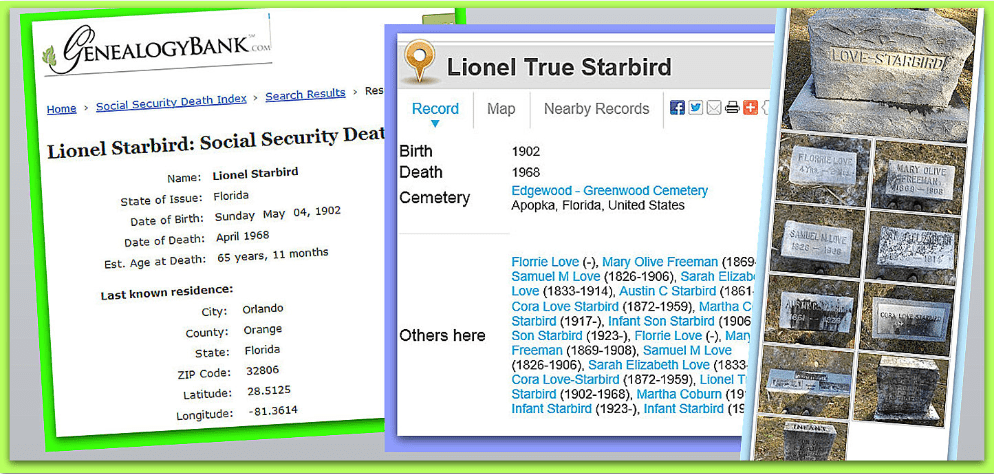 collage of records about Lionel Starbird from GenealogyBank and BillionGraves