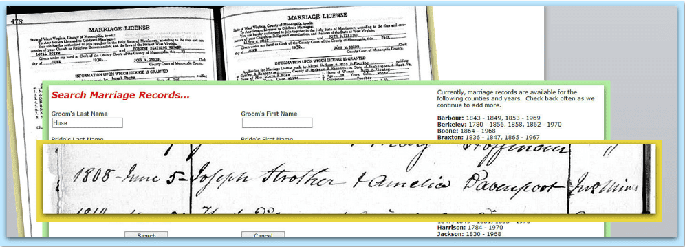 wedding records for Joseph Strother and Amelia Davenport available online from the West Virginia Division of Culture and History