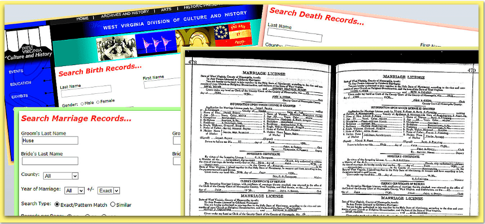 collage of genealogy records available online from the West Virginia Division of Culture and History