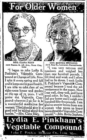 For Older Women - Lydia E. Pinkham's Vegetable Compound