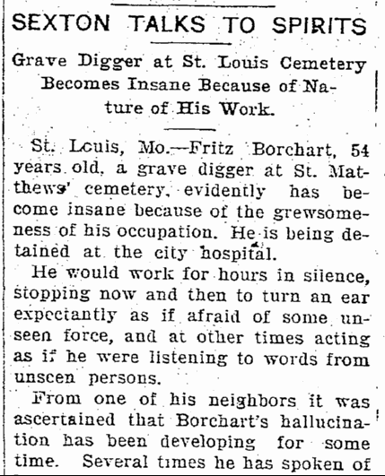 Fritz Borchart Gravedigger Elkhart Truth Newspaper