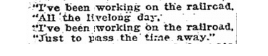 """""""I've Been Working on the Railroad"""" song, Evansville Courier and Press newspaper article 30 August 1920"""