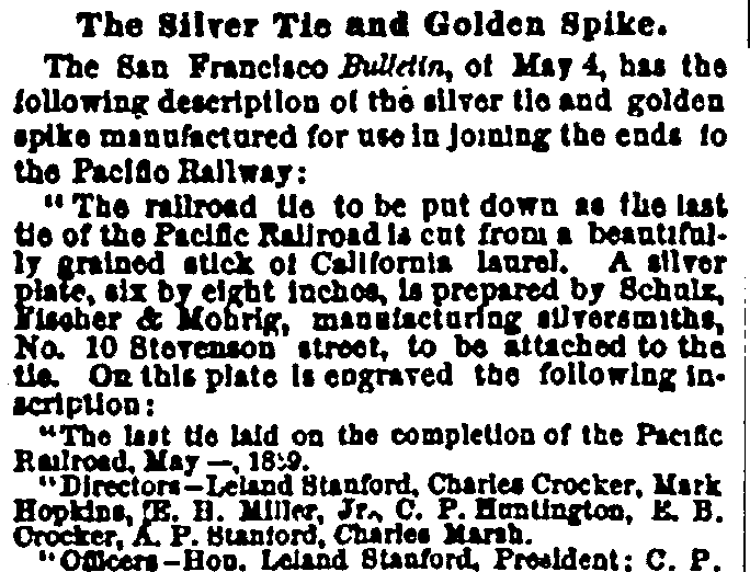 The Silver Tie and Golden Spike, Evening Post newspaper article