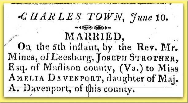wedding announcement for Joseph Strother and Amelia Davenport, Farmer's Repository newspaper article 10 June 1808