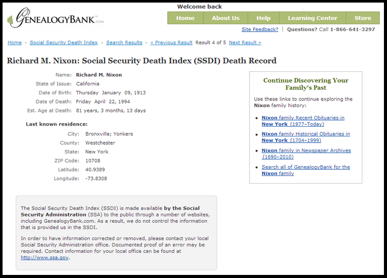 Social Security Death Index (SSDI) record for President Richard M. Nixon