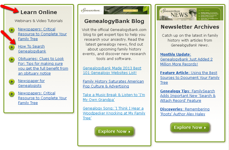 screenshot of the Learning Center page on the website GenealogyBank.com