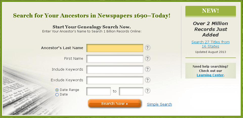 screenshot of the home page for GenealogyBank.com