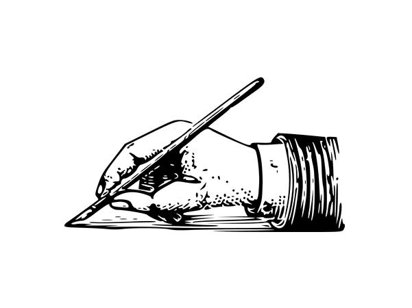 Illustration: a hand writing