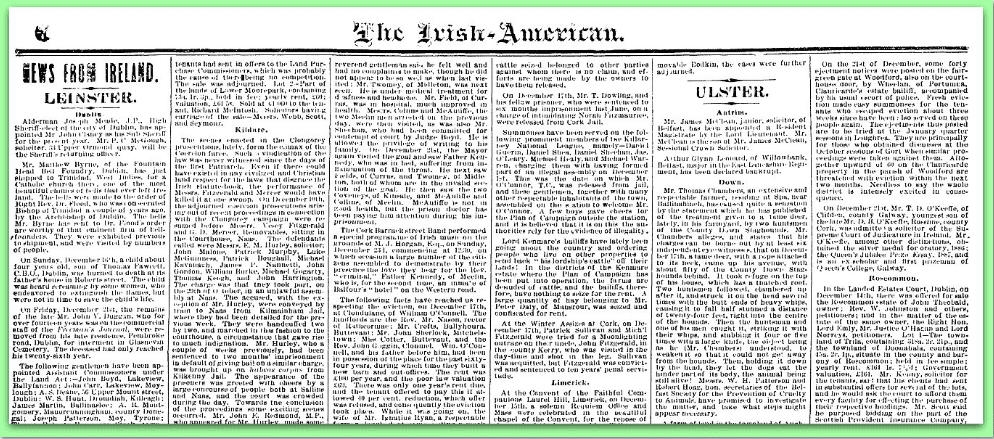 News from Ireland in Irish American Weekly Newspaper 1800s