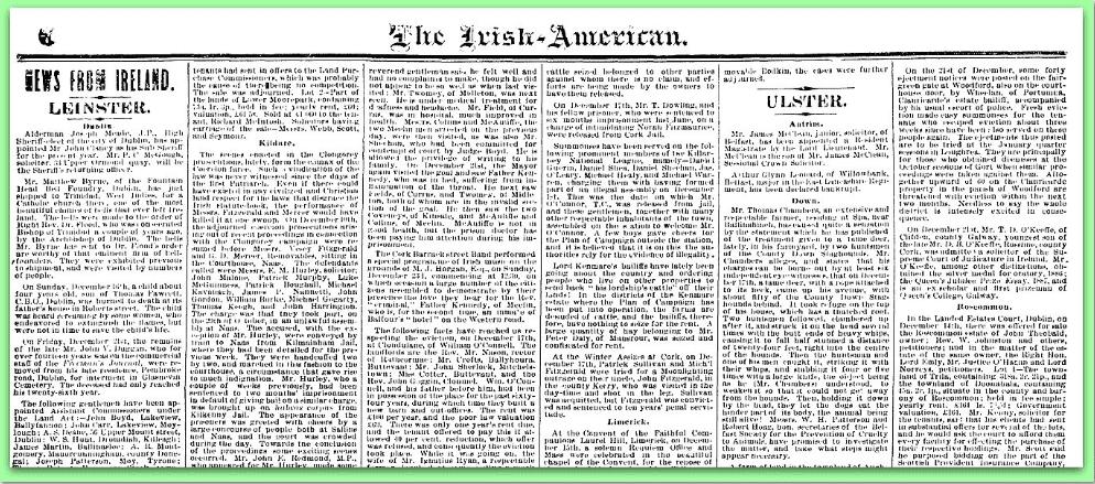 News from Ireland in Irish American Weekly Newspaper 1800s