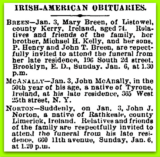 Irish American Weekly Newspaper Obituaries 1800s