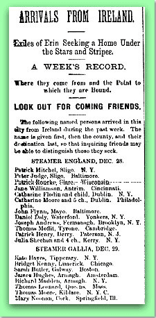 Irish Nation Ship Passenger List - Irish Coming to America