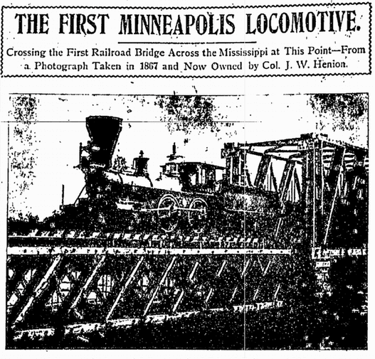 The First Minneapolis Locomotive, Minneapolis Journal newspaper article 12 February 1898
