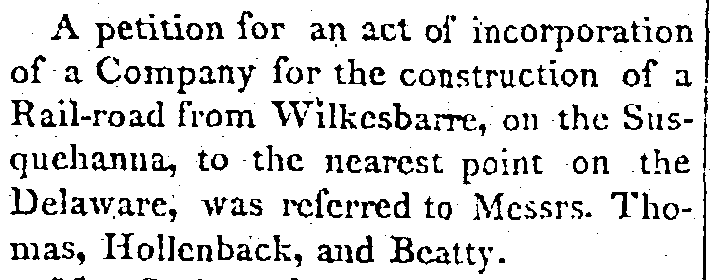 petition to construct a Pennsylvania railroad, National Gazette newspaper article 15 December 1825