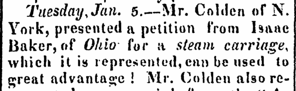 notice about a patent petition from Isaac Baker for a steam-carriage, New Brunswick Fredonian newspaper article 14 February 1822