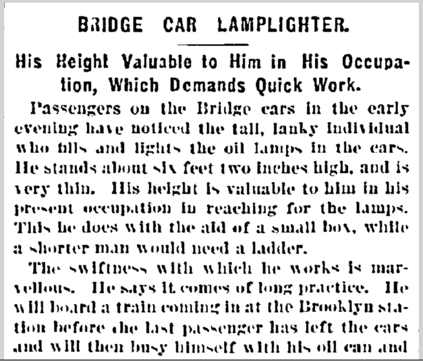 Bridge Car Lamplighters Article in the New York Herald Newspaper