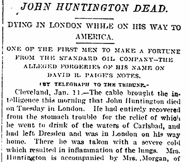 John Huntington Dead, New York Tribune newspaper obituary, 12 January 1893