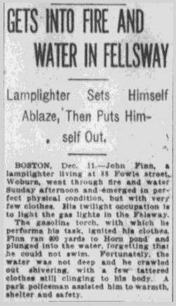 John Finn Lamplighter Accident Fire Pawtucket Times