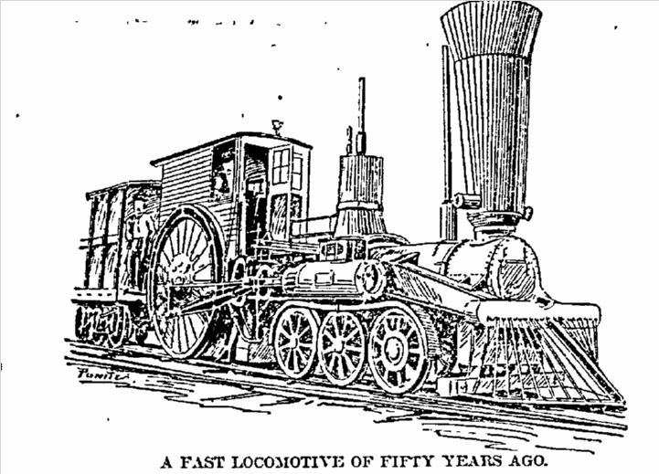 picture of a locomotive, Philadelphia Inquirer newspaper illustration 15 February 1892