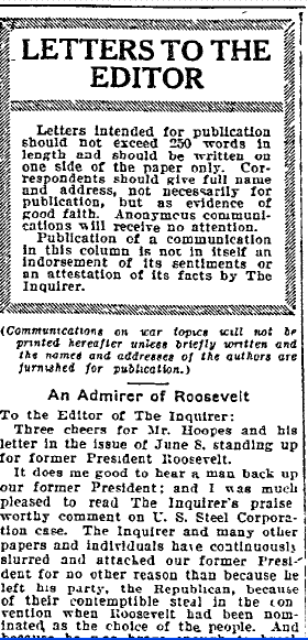 Letters to the Editor, Philadelphia Inquirer newspaper article 12 June 1915