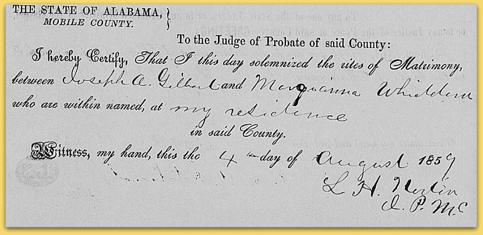 photo of the 1859 Alabama marriage certificate for Joseph Gilbert and Margianna Whiddon