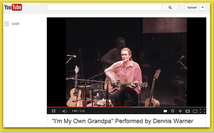 "photo of Dennis Warner performing ""I'm My Own Grandpa"""