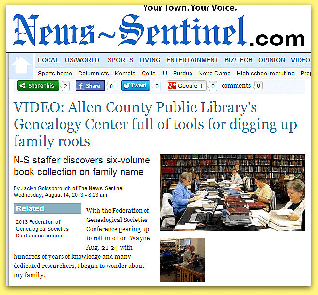 Allen County Public Library's Genealogy Center, News-Sentinel newspaper article 14 August 2013