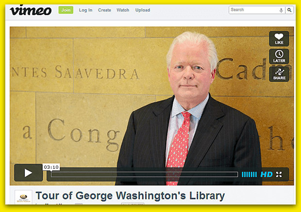 video of a tour of George Washington's Presidential Library